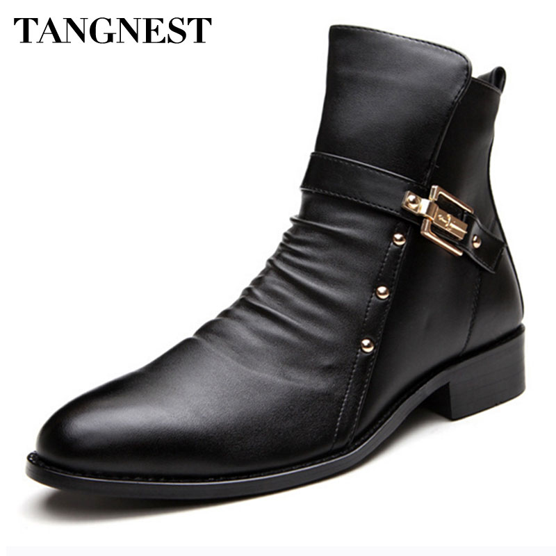 Tangnest 2017 New Men's Winter Boots Men Genuine Leather Boot Male British Style Retro Martin Boots Man Autumn Warm Shoes XMX450 mulinsen new 2017 autumn winter men