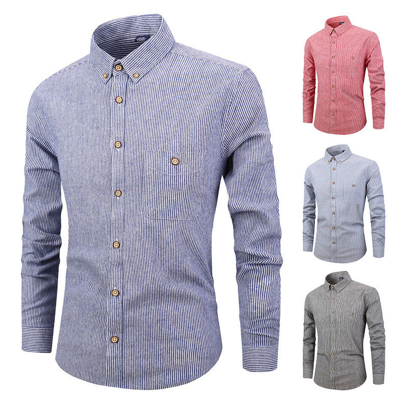 US $14.17 30% OFF|Fashion Men Shirt Striped Long Sleeves Mens Dress Shirts Camisa Masculina Casual Slim Fit Business Clothing in Casual Shirts from