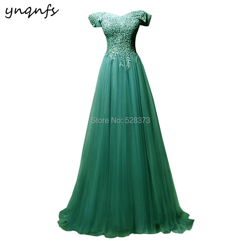 YNQNFS Elegant Lace Appliques Pearls Vestido De Festa Longo Robe Formal Dress Mint Green Mother Of The Bride Dresses 2019 MD371