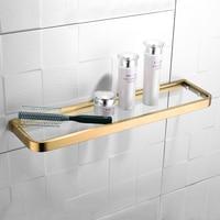 Luxury New Brushed Gold Single Tier Toilet Glass Bathroom Shelf Square Cosmetics Rack Storage Rack Free Shipping