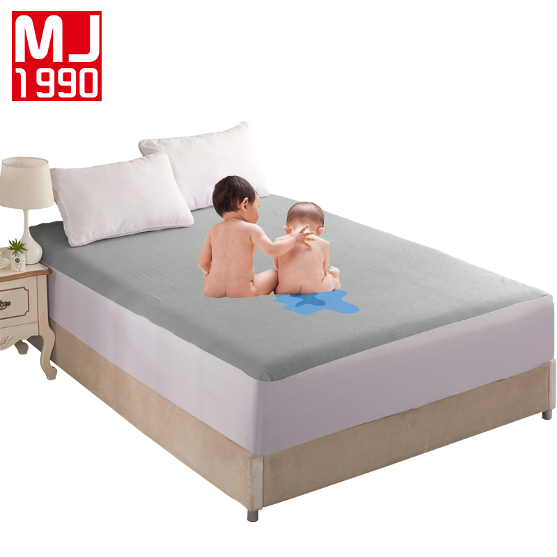 Waterproof Cotton Mattress Cover Solid Color Soft Fitted Sheet with Elastic Band Mattress Protector Cover Air Permeable