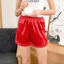 2019 Women Pajama Pants Imitation Silk Girls Shorts Sleepwear Short Pijama Female Summer Sexy Lace Loungewear Teenage