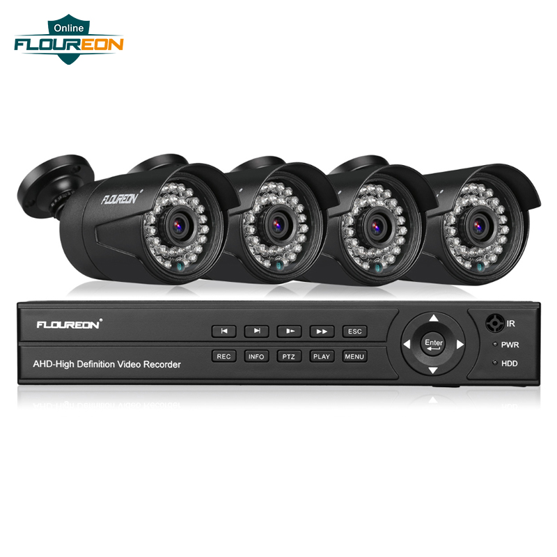 FLOUREON 8CH 1080P DVR 1080P CCTV System 4pcs 1080P 2.0MP Security Cameras Video Surveillance Kit Motion Detection Email Alert