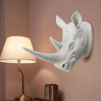 KiWarm Resina Exótica Cabeza De Rinoceronte Ornamento Blanco Animal Estatuas Artesanales Para El Hogar Hotel Colgante De Pared Arte Decoración Regalo