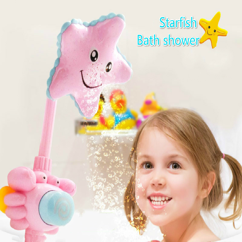New Cute Kids Bath Tub Toys Children's Water Spray Starfish Bebek Supplies Pink