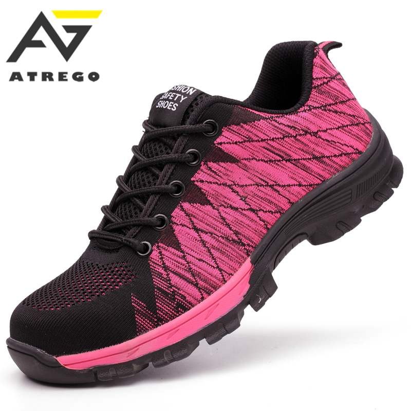 Women Work Safety Shoes Woman AtreGo Steel Toe Workshoes Mesh Breathable Industrial Safety Labor Insurance Puncture Proof ShoesWomen Work Safety Shoes Woman AtreGo Steel Toe Workshoes Mesh Breathable Industrial Safety Labor Insurance Puncture Proof Shoes