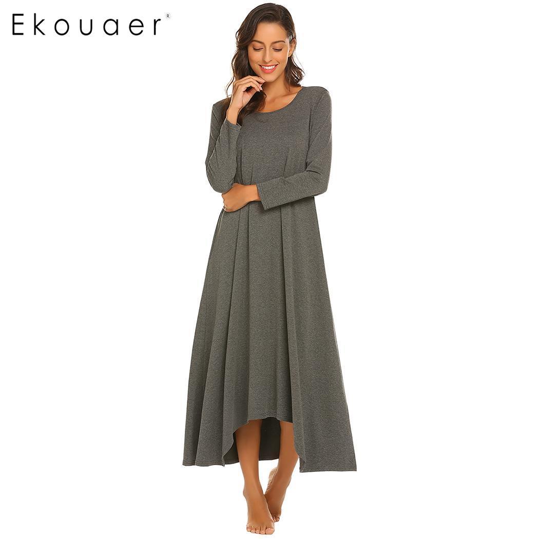 Ekouaer Long   Nightgown   Chemise   Sleepshirts   Women 3/4 Sleeve Side Porket Ankle Length Sleep Night Dress Sleepwear Plus Size