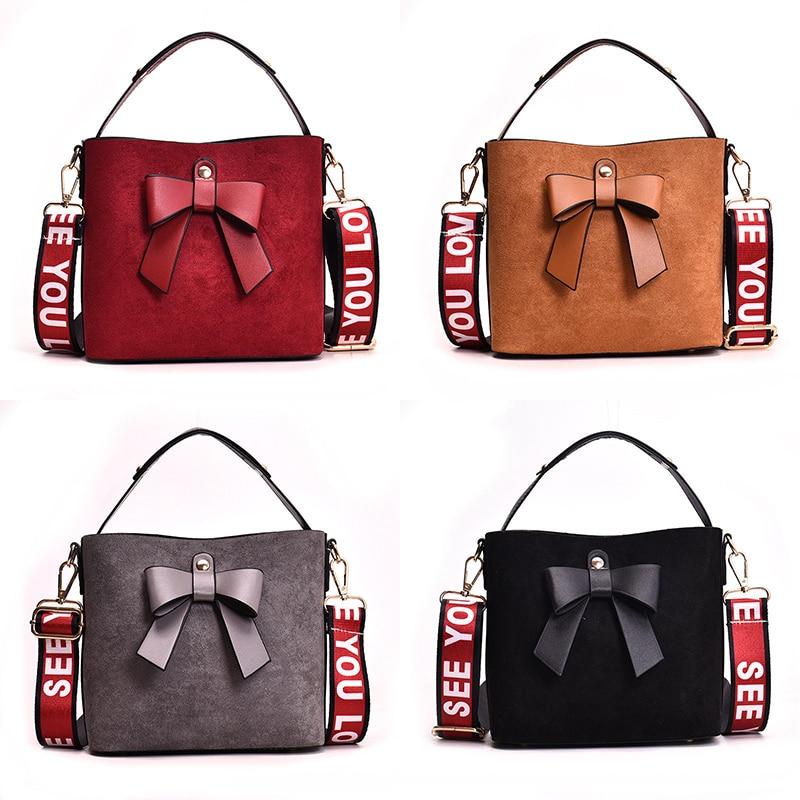 Bow Handbag Luxury Handbags Designer Retro Scrub Bag Women Messenger Bags Leather Tote Strap Bucket Bag Sac A Main