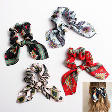 Knot Scrunchies For Women Ethnic Style Floral Printing Satin Hair Ribbon Pearls Ties Scrunchy Ponytail Accessories