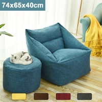 Waterproof Bean Bag Lazy Sofa Indoor Seat Chair Cover Beanbag Sofas Large Bean Bag Cover Armchair Washable Cozy Game Yellow