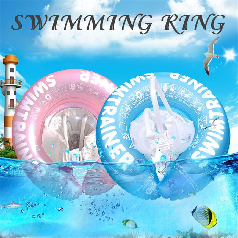 Children's Swimming Ring Thickened Straps Underarms Inflatable Ring Cartoon Lifebuoy Seat Boat Float Harmless Safety Water Toy F