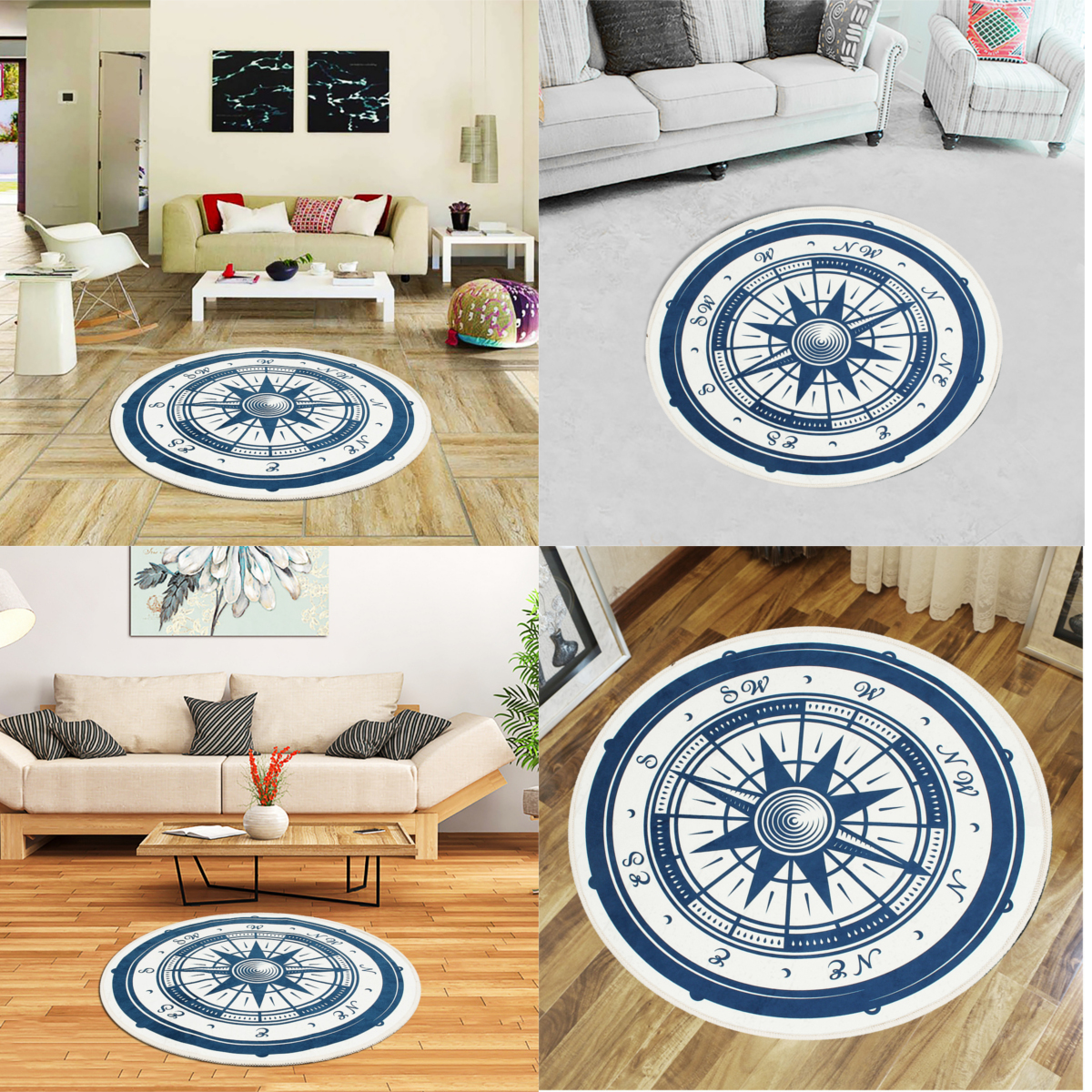 Us 11 35 29 Off Home Textile Round Door Mat Floor Mat Vintage Nautical Anti Slip Polyester Carpet For Children Bathroom Livingroom Outdoor Rug In