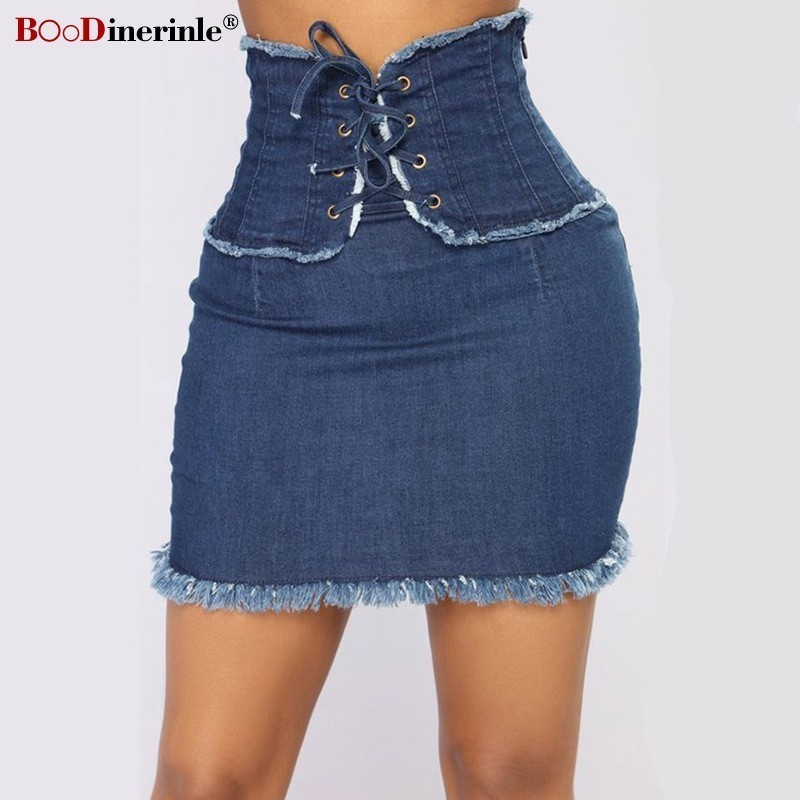 BOoDinerinle Casual Denim Skirt Pencil Size Women Skirt High Waist Tassel Mini Skirt Women Bandage Skirts Summer 2019 Streetwear
