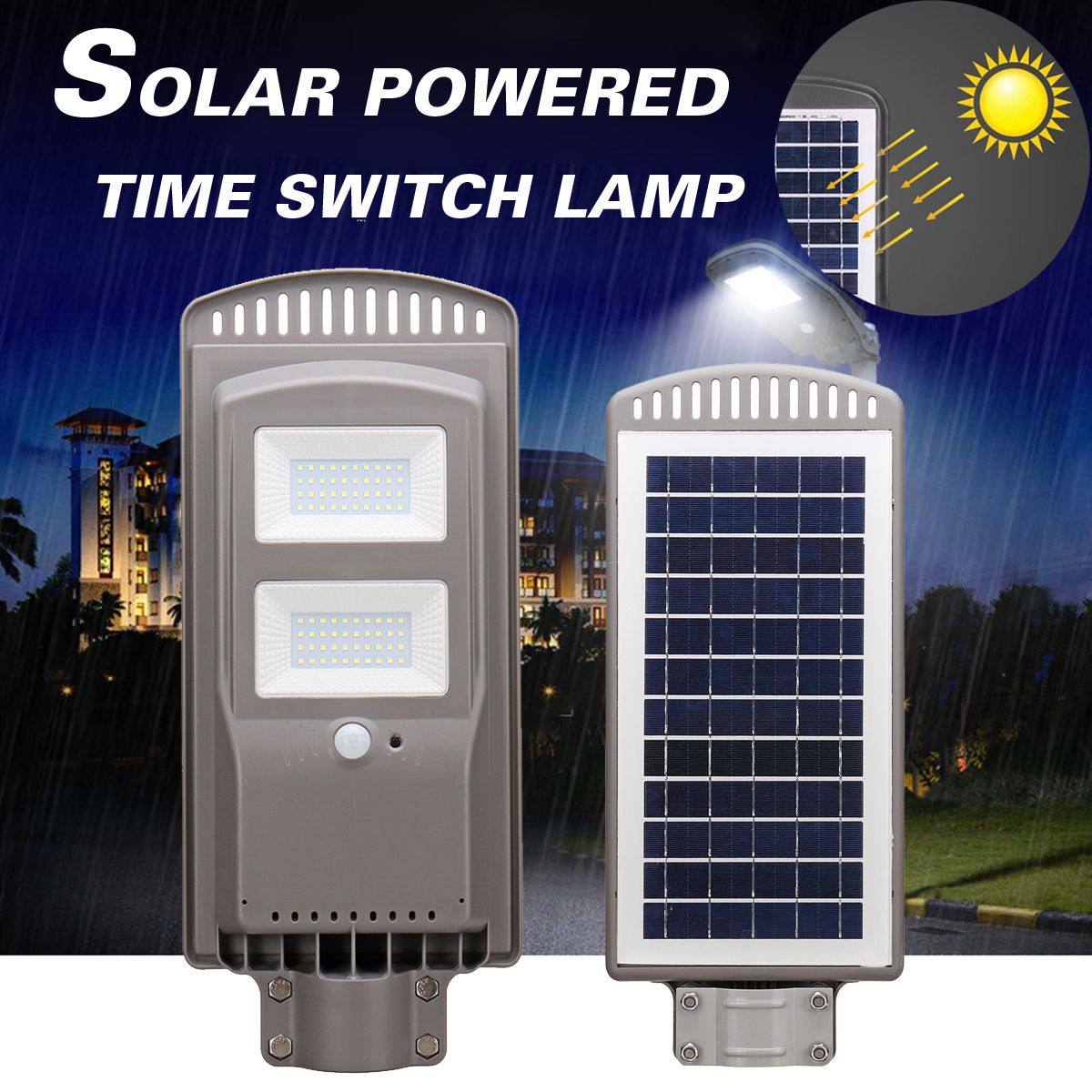 цена на 40W Solar Powered Panel LED Solar Street Light All-in-1 Time Switch Waterproof IP67 Wall Path Lighting Lamp for Outdoor Garden