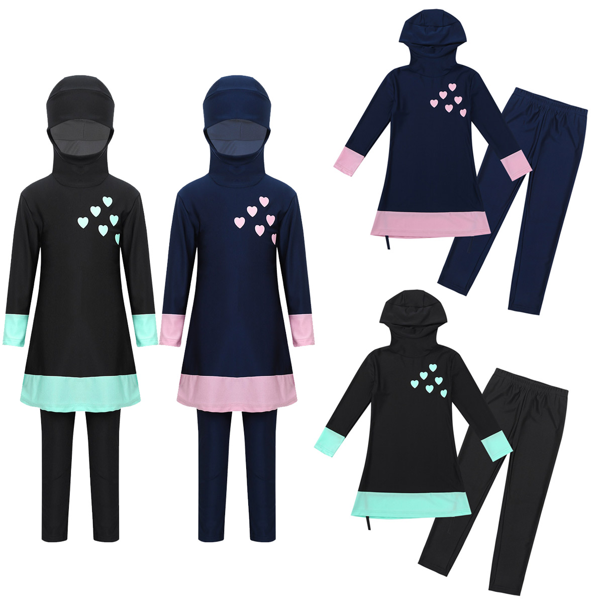 Image 2 - Kids Girls Long Sleeves Sweetheart Printed Full Cover Conservative Hijab Burkini Muslim Girls Kid Swimwear Swimsuit with Pants-in Clothing Sets from Mother & Kids