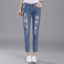 Spring Summer New Denim Vintage Pockets Casual Ripped Hole Loose All-match Jeans Womens Washed High Waist  Trousers