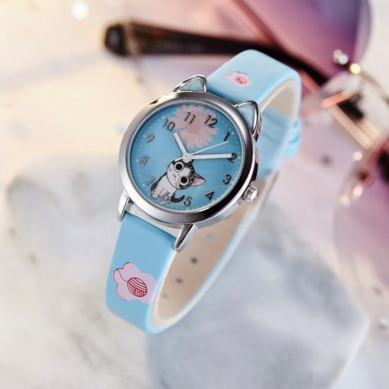 2019 New Kids Watch Quartz Analog Child Watches For Boys Girls  Cute Cheese Cat Pattern Student Clock Gift Relogio Feminino