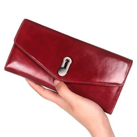 Brand Lady Real Cow Leather Wallet Female Genuine Leather Purse Women Clutch Long Wallets Phone Credit Cards Holder Coin Purse