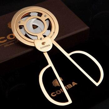 COHIBA Triple 3 Blades Stainless Steel Gold Plated Cigar Cutter Pocket Gadgets Zigarre Cutter Knife Cuban Cigars Scissors 843F