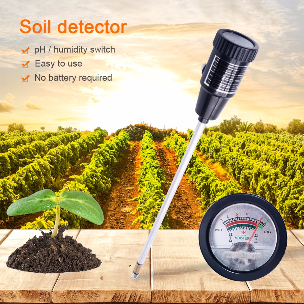 yieryi Soil pH Moisture Meter Tester Hydroponics Analyzer Long Water Quality Plants Humidity Soil Detector 3 8 pH,1 8 Moisture