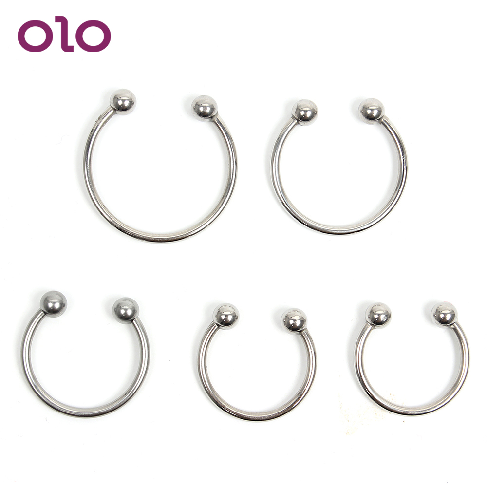 OLO <font><b>Penis</b></font> <font><b>Ring</b></font> Stainless <font><b>Steel</b></font> Cock <font><b>Ring</b></font> Delay Ejaculation Adult Products Sex Toys for Men <font><b>Penis</b></font> Enlargement Extender image