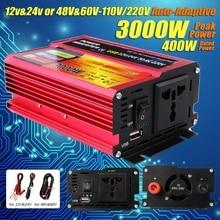 Солнечный инвертор 12 В 220 в 3000 Вт Pe ak преобразователь напряжения трансформатор DC 12 В и 24 В 48 В и 60 в к AC 110 В/220 В Авто адаптация инверсор