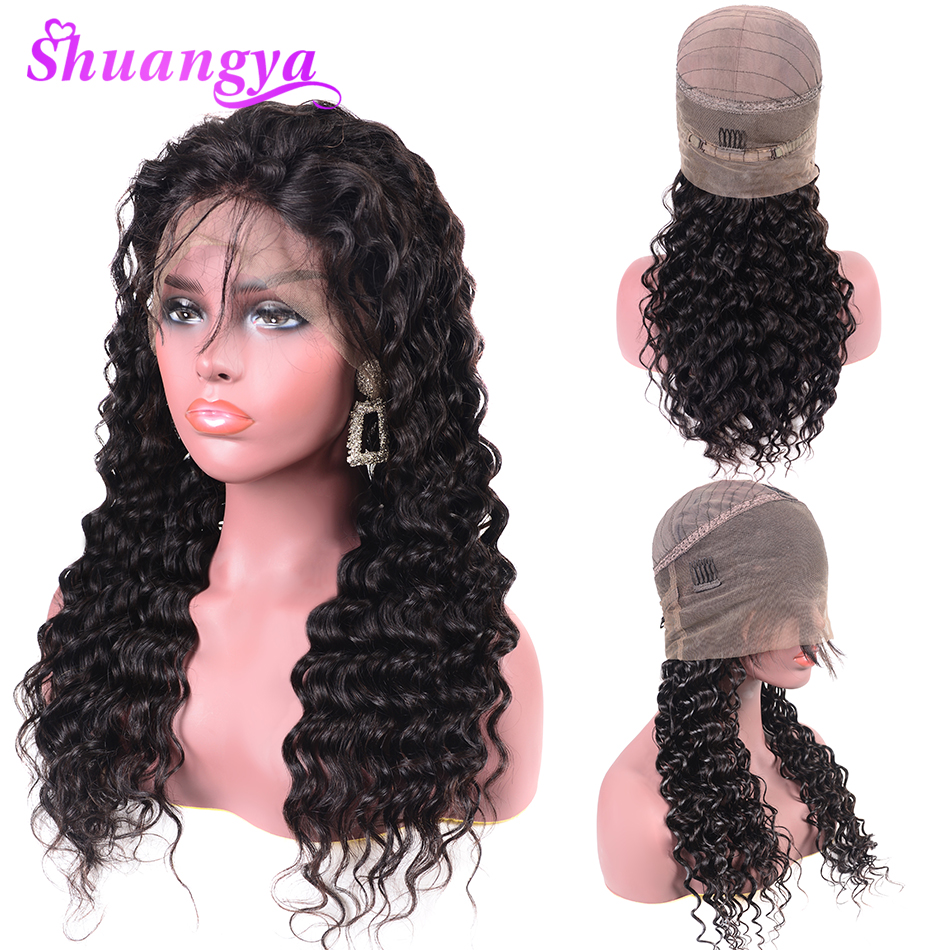 Shuangya 360 Lace Front Human Hair Wigs For Women Pre Plucked Brazilian Deep Wave Wig With