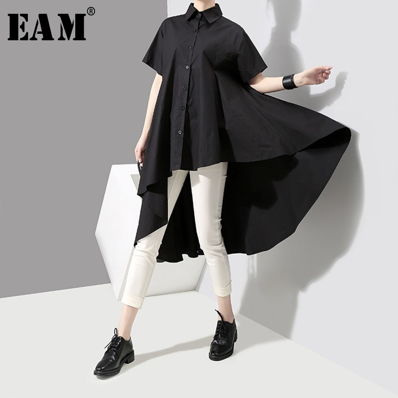 [EAM] 2020 New Spring Autumn Lapel Long Sleeve Black Dovetail Loose Irregular Pleated Hem Shirt Dress Women Fashion Tide JH439