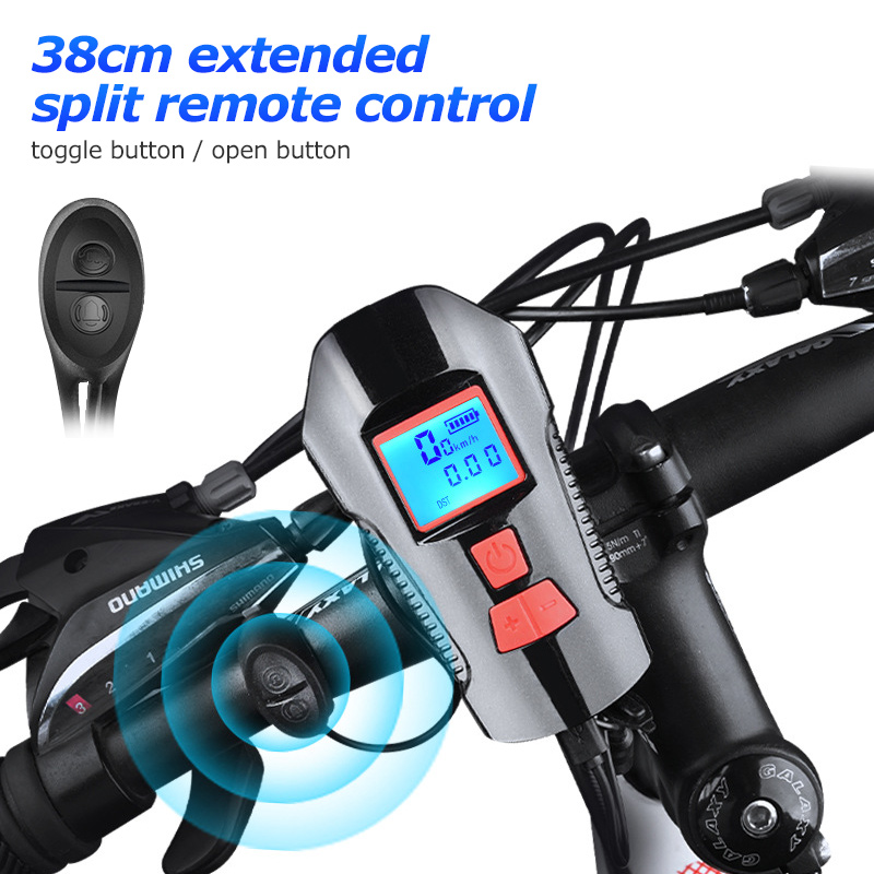 Waterproof Bicycle Bell With Light USB Charging Bike Front Light Flashlight Handlebar Cycling Head Light W/ Horn Speed Meter LCD