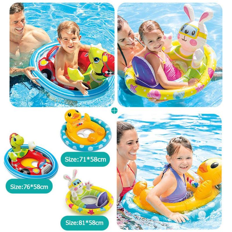 Child Baby Cartoon Swimming Ring Pool Seat Toddler Float Ring Aid Training Random Color