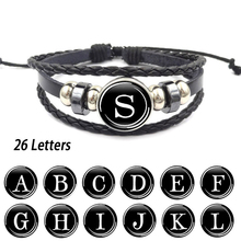 Hot Sale Bracelet Bead Unique Seaside Women Adjustable Party Glass A-Z 26 Letters 1PC Men Leather Rope New Arrival Handmade цены