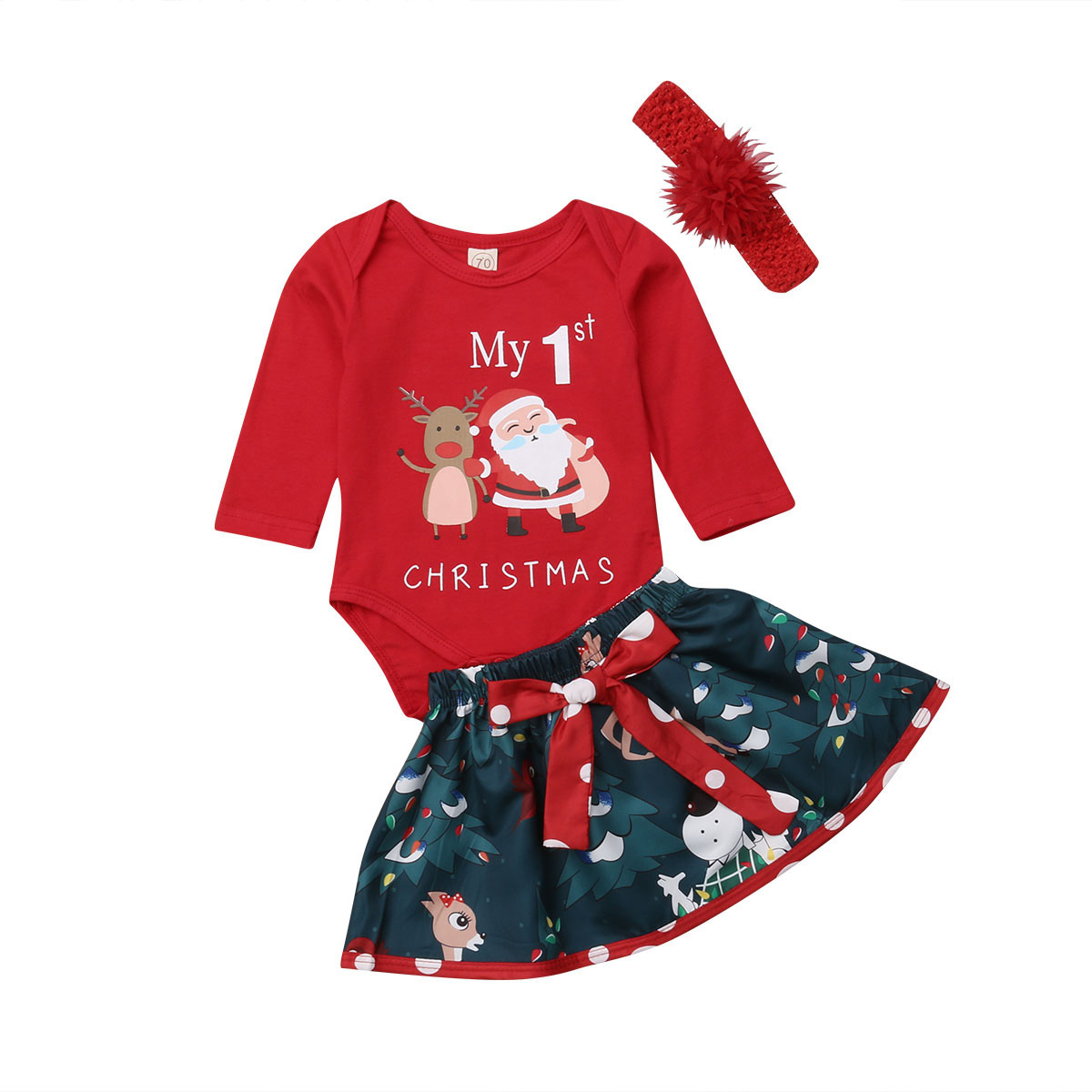 e53aaf232 Detail Feedback Questions about 3PCS My First Christmas Outfit Newborn Baby  Girl Santa Deer Print Bodysuit+Floral Skirt Dress+Headband Clothes Set on  ...