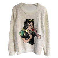 Runway Snow White Sequin Sweater Women Casual Vintage Beading Embroidery Jumper Ladies Winter Pullover Pull Femme Hiver 2019