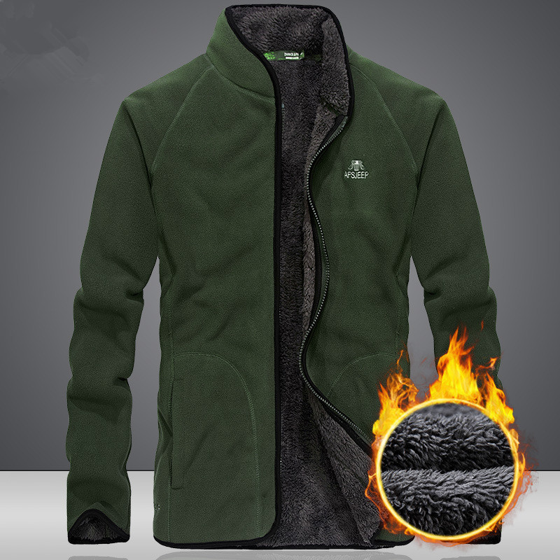 Autumn Winter Outdoor Riding Hiking Climbing Sports Warm Windproof Breathable Coat Men's Cardigan Thicken Thermal Fleece Jacket
