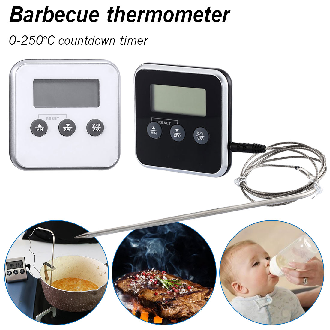 Digital Oven Thermometers Food Cooking BBQ Thermometer LCD Barbecue Timer Probe Temperature Kitchen Cooking Tools