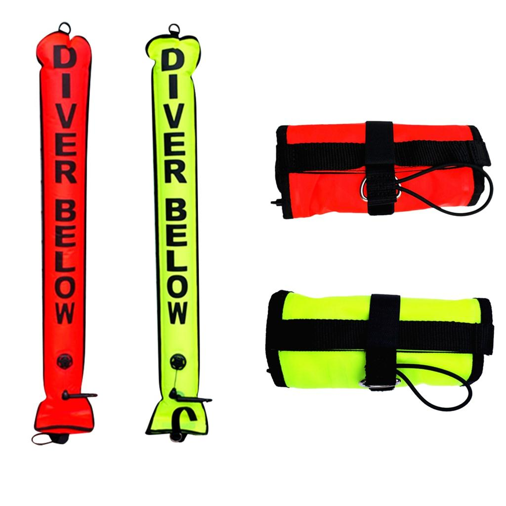 Nylon TPU Safety High Visibility 4FT Underwater Scuba Diving Diver Below SMB Surface Marker Buoy Signal Tube With Oral Inflator