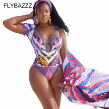 Women One Piece Bandage Swimsuit+Chiffon Bikini Beach Cover Up 2019 Summer Brazilian Biquinis Print Cardigan Swimwear Plus Size