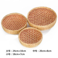 Hand woven Storage Basket Round Vegetable And Fruit Basket Rattan Plastic Home Drain Drying Groceries Organizer
