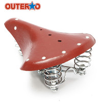 Genuine Leather Springs Bike Saddle Seat Vintage Red Brown High Quality Bike Seat Bicycle Saddle Bicycle Parts Cycling Seat Mat