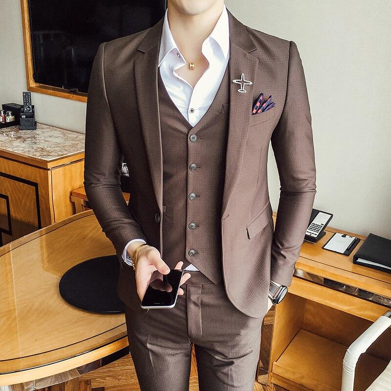 (Veste + Gilet + Pantalon) brun Noir Costume Homme Slim Fit 2017 Nouveau Costume Mariage Homme Terno Masculino MenSuits Pour Le Mariage