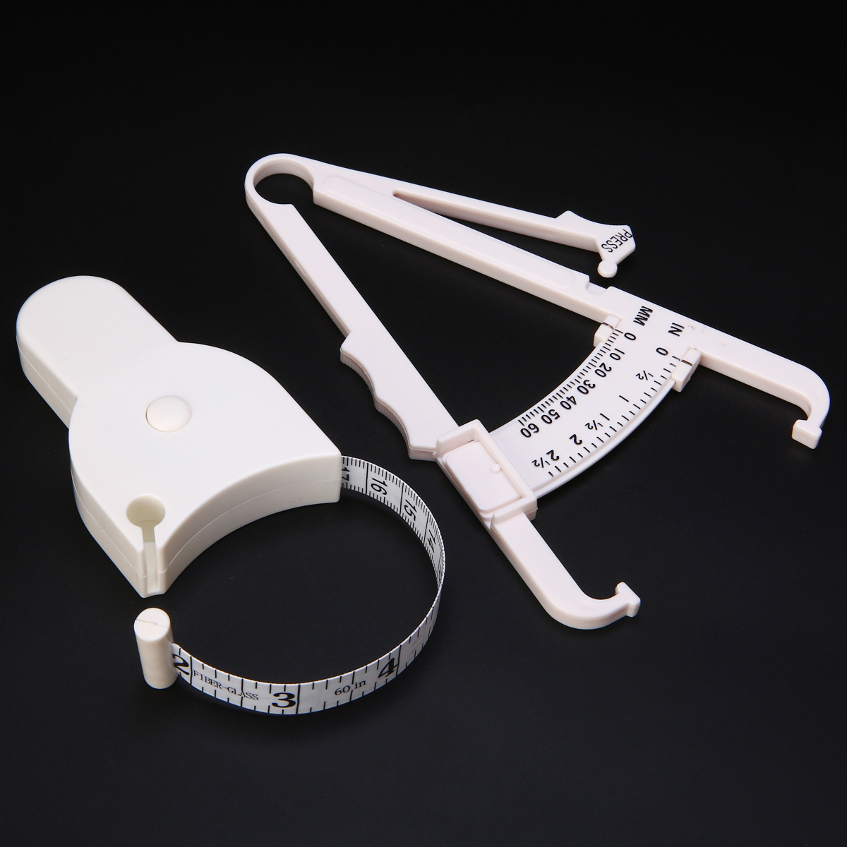 2Pcs/Set White PVC Body Fat Caliper Measuring Tape Tester Lightweight Fitness Lose Weight Equipmnet For Body Building