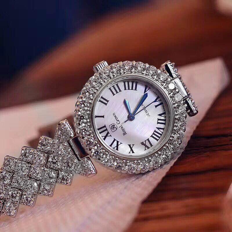 Image 2 - Luxury Jewelry Lady Womens Watch Fine Fashion Hours Prong  Setting Bracelet Rhinestone Gold Plated Girl Gift Royal Crown BoxQuartz  Watches