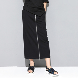 Image 3 - [EAM] 2020 New Spring Autumn High Elastic Waist Black Zipper Split Joint Personality Loose Pants Women Trousers Fashion JS994