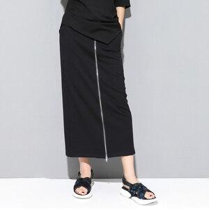 Image 3 - [EAM] 2020 חדש אביב סתיו גבוהה אלסטי מותניים שחור רוכסן פיצול משותף אישיות Loose מכנסיים נשים מכנסיים אופנה JS994