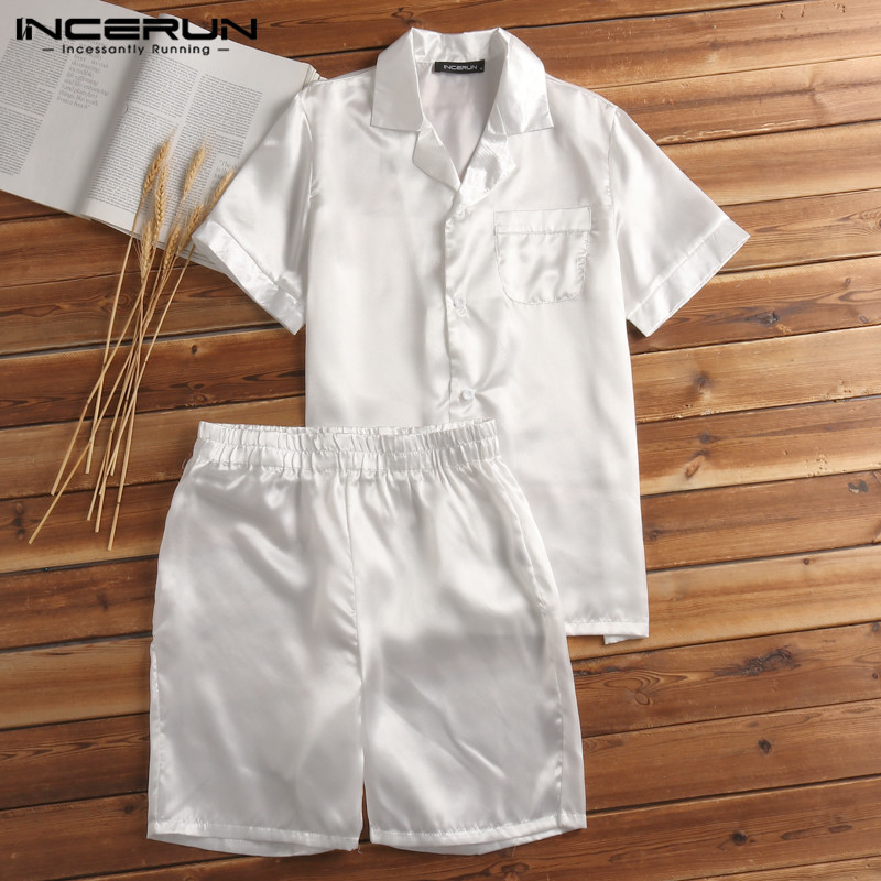 Pajamas-Set Mens Sleepwear-Set Homewear Satin Silk Shorts Tops Tee Soft-Rayon Hombre