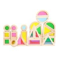 24 pcs/ensemble Bébé En Bois Blocs de Construction Jouet Empilage Arc-En-Blocs Coloré Cognitive Jouets Montessori Enfants Cadeaux
