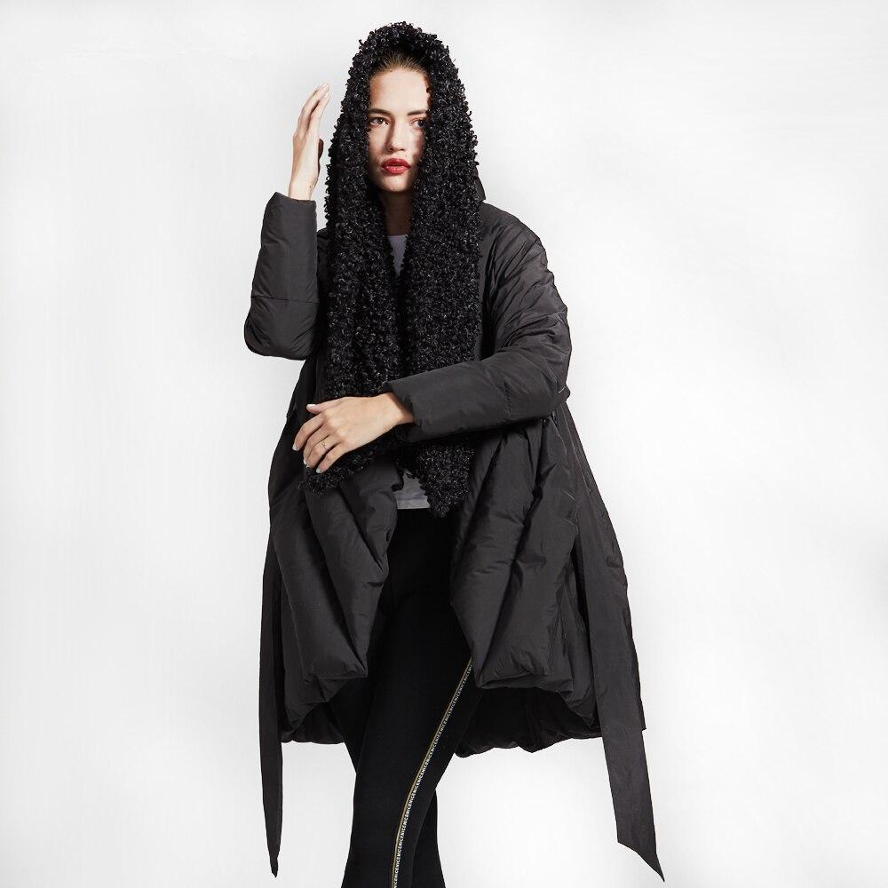 Original Design High Quality Winter   Down   Jacket Women New Loose Cloak Imitation Beach Wool Collar Hooded Long   Down     Coat   Female