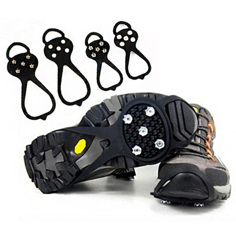 Size S-XL 10 Studs Anti-Skid Ice Gripper Spike Winter Climbing Anti-Slip Snow Spikes Grips Cleats Over Shoes Covers Crampon