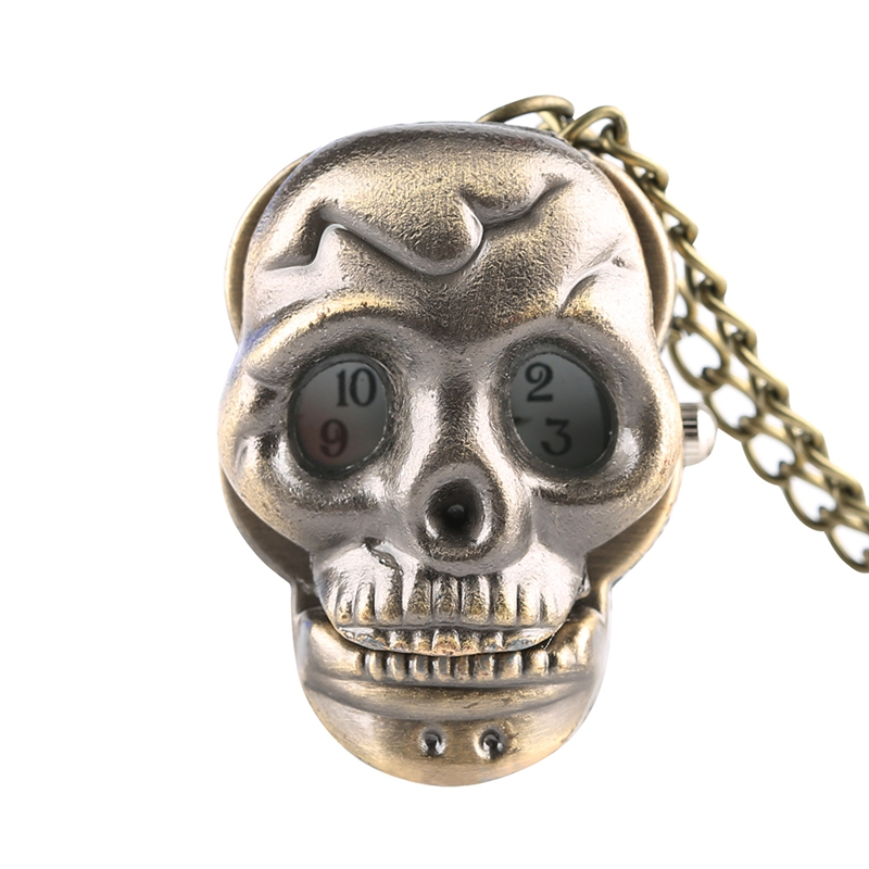 Unique Little Cute Skull Quartz Pocket Watch Retro Punk Ghost Necklace Pendant Clock Gifts For Men Women Children Collectibles