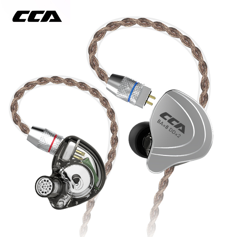 CCA C10 4BA + 1DD Hybride Casque 2PIN Dans L'oreille Écouteurs HIFI DJ Monito de Course Sport 10 Pilotes Detacable Mise À Niveau câble Écouteurs